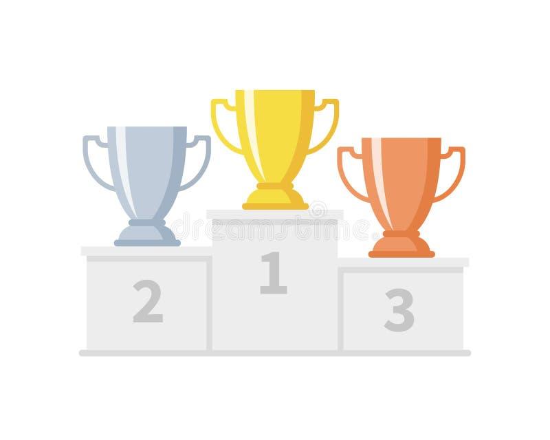 Εξέδρα νικητών με τα φλυτζάνια τροπαίων Goblets χρυσού, ασημιών και χαλκού στο αθλητικό βάθρο Επίτευγμα ανταγωνισμού και στόχου διανυσματική απεικόνιση