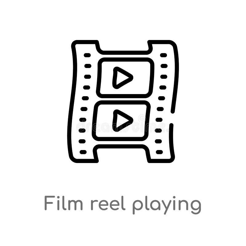 εξέλικτρο ταινιών περιλήψεων που παίζει το διανυσματικό εικονίδιο απομονωμένη μαύρη απλή απεικόνιση στοιχείων γραμμών από την ένν διανυσματική απεικόνιση
