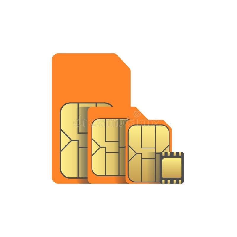 Εξέλιξη καρτών συνόλου sim στο διάνυσμα esim ελεύθερη απεικόνιση δικαιώματος