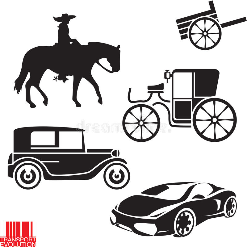 Εξέλιξη μεταφορών διανυσματική απεικόνιση
