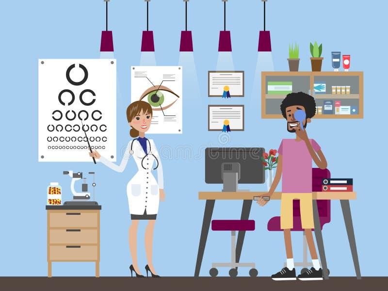 Εξέταση ματιών με το ophtalmologist διανυσματική απεικόνιση