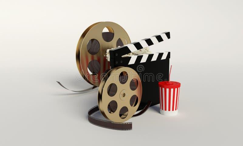 Εξέλικτρο ταινιών, popcorn, λουρίδα κινηματογράφων, μίας χρήσης φλυτζάνι για τα ποτά με απεικόνιση αποθεμάτων