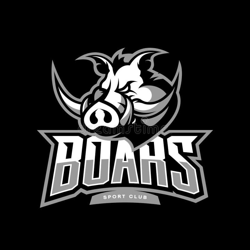 Εξαγριωμένη κάπρων έννοια λογότυπων αθλητικών λεσχών διανυσματική στο σκοτεινό υπόβαθρο διανυσματική απεικόνιση