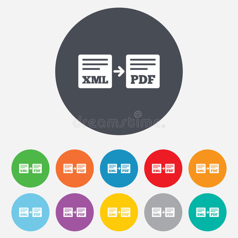 Εξαγωγή XML στο εικονίδιο PDF. Σύμβολο εγγράφων αρχείων. ελεύθερη απεικόνιση δικαιώματος