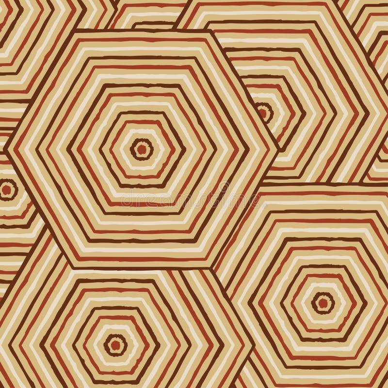 Εξαγωνική αφηρημένη αυτόχθων ζωγραφική γραμμών διανυσματική απεικόνιση