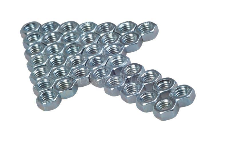 Εξαγωνικό βέλος καρυδιών που απομονώνεται στο λευκό στοκ εικόνα με δικαίωμα ελεύθερης χρήσης