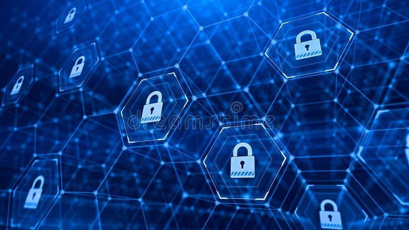 Εξαγωνικό πλέγμα και λουκέτα - υπόβαθρο έννοιας ασφάλειας τεχνολογίας διανυσματική απεικόνιση