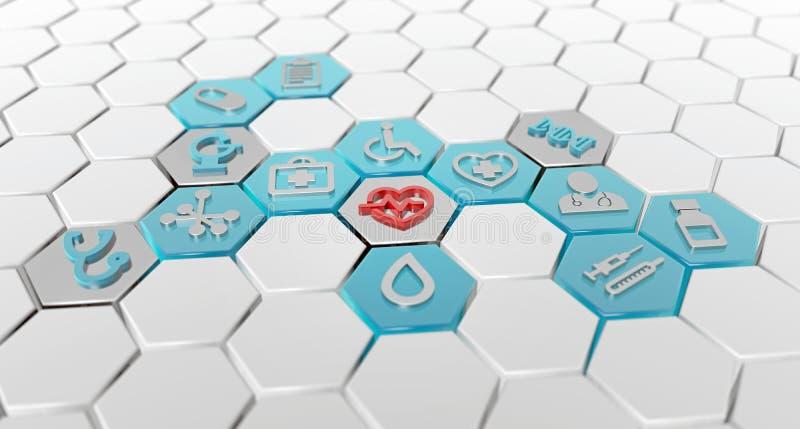 Εξαγωνικό σχέδιο των ιατρικών εικονιδίων απεικόνιση αποθεμάτων