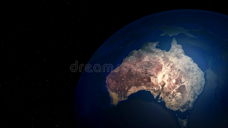 Εξαιρετικά λεπτομερής και ρεαλιστική τρισδιάστατη απεικόνιση υψηλής ανάλυσης της Αυστραλίας Πυροβοληθείς από το διάστημα διανυσματική απεικόνιση