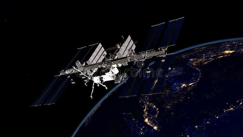 Εξαιρετικά λεπτομερής και ρεαλιστική τρισδιάστατη εικόνα υψηλής ανάλυσης ISS - βάζοντας σε τροχιά γη Διεθνών Διαστημικών Σταθμών  στοκ εικόνα με δικαίωμα ελεύθερης χρήσης