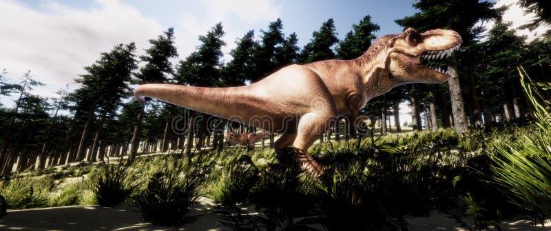 Εξαιρετικά λεπτομερής και ρεαλιστική τρισδιάστατη απεικόνιση υψηλής ανάλυσης ενός δεινοσαύρου τ-Rex Tyranno Saurus στο δάσος ελεύθερη απεικόνιση δικαιώματος