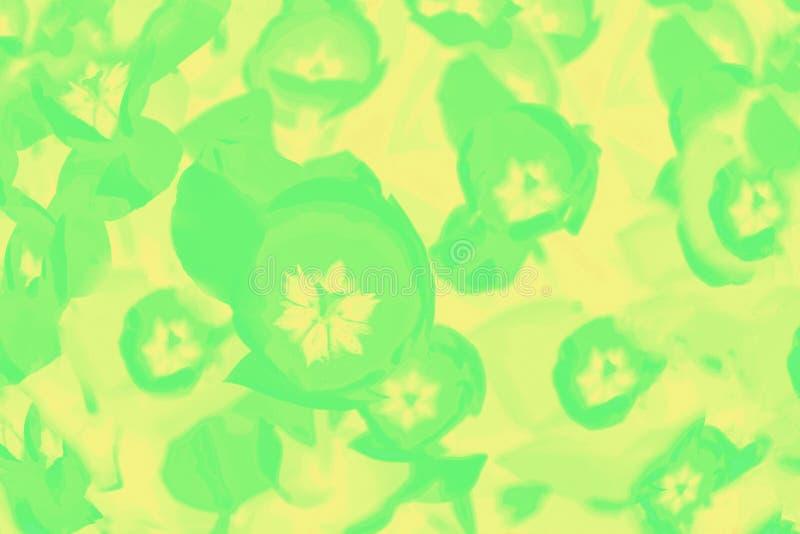 Εξαιρετικά πράσινο σχέδιο λουλουδιών τουλιπών στο κίτρινο υπόβαθρο στοκ εικόνες με δικαίωμα ελεύθερης χρήσης