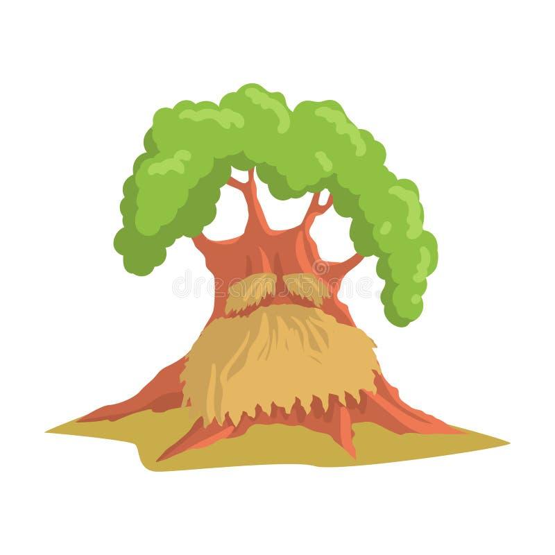 Εξανθρωπισμένη γίγαντας βαλανιδιά με τη μακριά γενειάδα Παλαιό πράσινο δασικό δέντρο Φυσικό στοιχείο τοπίων Επίπεδο διανυσματικό  ελεύθερη απεικόνιση δικαιώματος