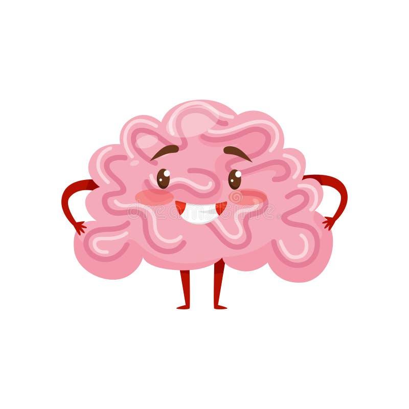Εξανθρωπισμένος ροζ εγκέφαλος με το πρόσωπο χαμόγελου, τα μικρά όπλα και τα πόδια ανθρώπινο όργανο χαρακτήρας κινουμένων σχ&eps Ε απεικόνιση αποθεμάτων
