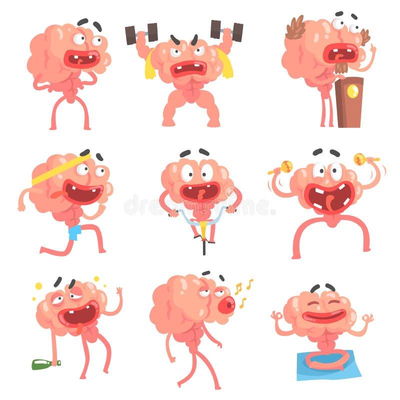 Εξανθρωπισμένος χαρακτήρας κινουμένων σχεδίων εγκεφάλου με την αστεία συλλογή σκηνών και συγκινήσεων ζωής όπλων και ποδιών των απ διανυσματική απεικόνιση
