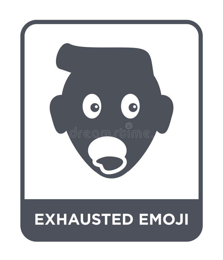 εξαντλημένο εικονίδιο emoji στο καθιερώνον τη μόδα ύφος σχεδίου εξαντλημένο εικονίδιο emoji που απομονώνεται στο άσπρο υπόβαθρο ε απεικόνιση αποθεμάτων