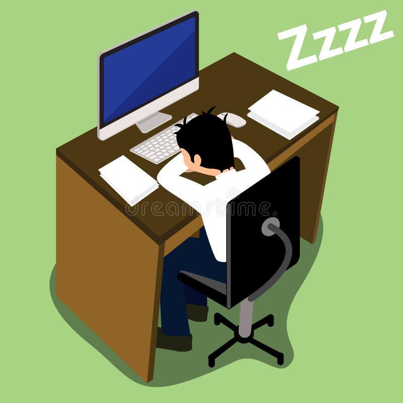 Εξαντλημένος επιχειρηματίας που πέφτει κοιμισμένος διανυσματική απεικόνιση