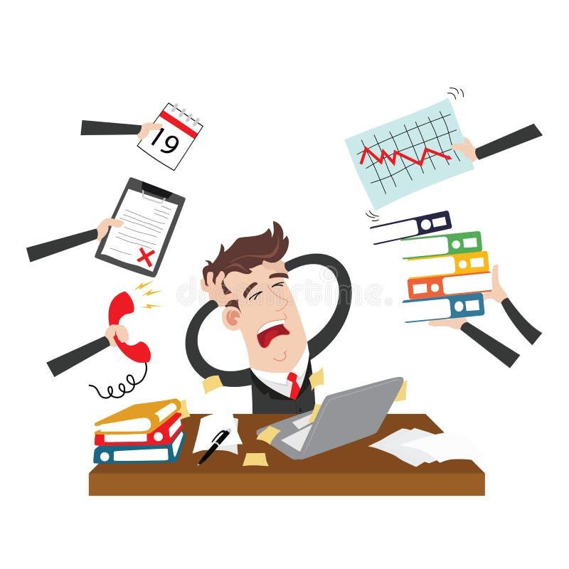 Εξαντλημένος και τονισμένος επιχειρηματίας διανυσματική απεικόνιση