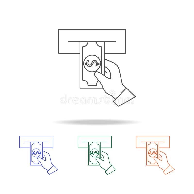 Εξαργύρωση από ένα εικονίδιο του ATM Στοιχεία των τραπεζικών εργασιών στα πολυ χρωματισμένα εικονίδια Γραφικό εικονίδιο σχεδίου ε διανυσματική απεικόνιση