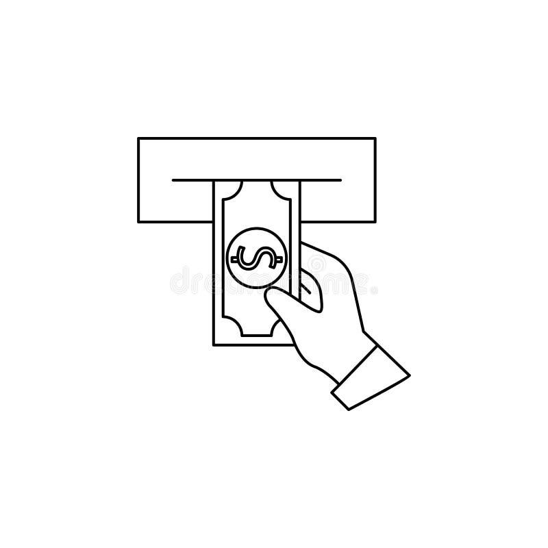 Εξαργύρωση από ένα εικονίδιο του ATM Στοιχείο του τραπεζικού εικονιδίου για την κινητούς έννοια και τον Ιστό apps Λεπτό εικονίδιο απεικόνιση αποθεμάτων