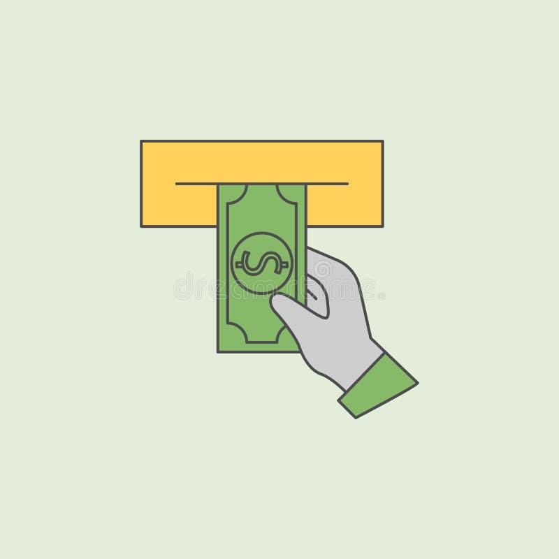 Εξαργύρωση από ένα εικονίδιο του ATM Στοιχείο του τραπεζικού εικονιδίου για την κινητούς έννοια και τον Ιστό apps Η περίληψη τομέ απεικόνιση αποθεμάτων