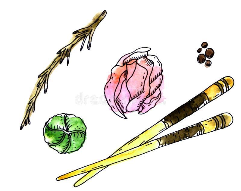 Εξαρτήματα για την ιαπωνική κουζίνα διανυσματική απεικόνιση