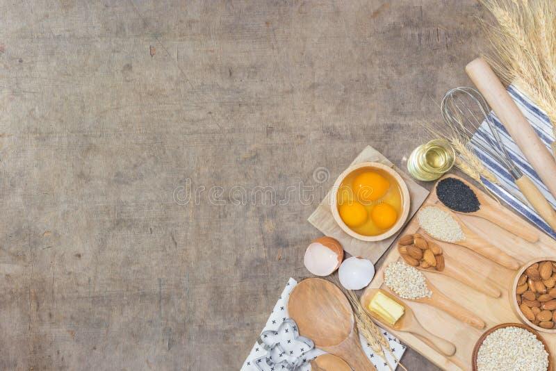 Εξαρτήματα κουζινών και συστατικά ψησίματος στοκ εικόνα