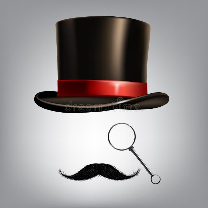 Εξαρτήματα κυρίων: κύλινδρος καπέλων, μονόκλ και moustache επίσης corel σύρετε το διάνυσμα απεικόνισης απεικόνιση αποθεμάτων
