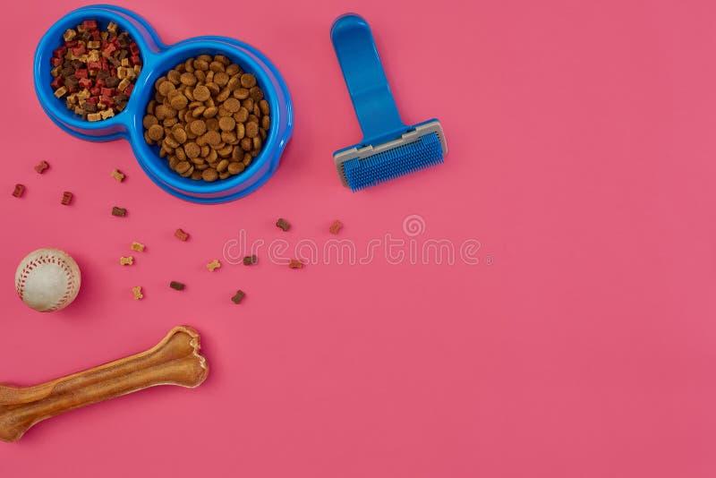 Εξαρτήματα της Pet, τρόφιμα, παιχνίδι Τοπ όψη στοκ εικόνες