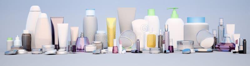 Εξαρτήματα Beautician για την προσοχή ομορφιάς, υγιεινή και makeup στο α στοκ εικόνες
