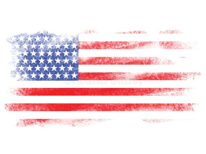 Εξασθενίστε τη αμερικανική σημαία σε άσπρο Blackground απεικόνιση αποθεμάτων