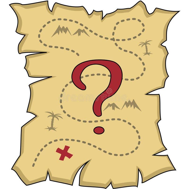 Εξασθενισμένος παλαιός χάρτης με ένα ερωτηματικό, που απομονώνεται απεικόνιση αποθεμάτων