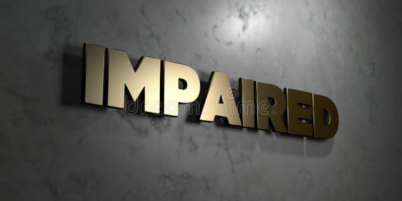 Εξασθενισμένος - το χρυσό σημάδι τοποθέτησε στο στιλπνό μαρμάρινο τοίχο - τρισδιάστατο δικαίωμα ελεύθερη απεικόνιση αποθεμάτων ελεύθερη απεικόνιση δικαιώματος