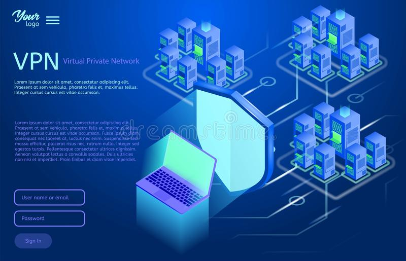 Εξασφαλίστε την εικονική ιδιωτική έννοια δικτύων Isometric διανυσματική απεικόνιση της υπηρεσίας vpn ελεύθερη απεικόνιση δικαιώματος