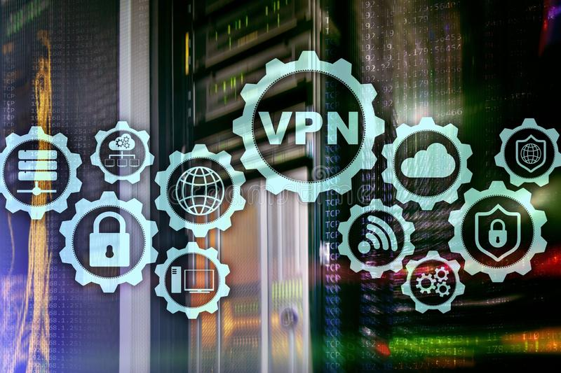 Εξασφαλίστε τη σύνδεση VPN Ιδεατή ιδιωτική δίκτυο ή έννοια ασφάλειας Διαδικτύου διανυσματική απεικόνιση