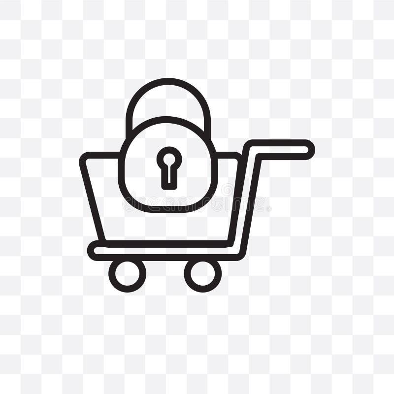 Εξασφαλίστε το διανυσματικό γραμμικό εικονίδιο αγορών που απομονώνεται στο διαφανές υπόβαθρο, η ασφαλής έννοια διαφάνειας αγορών  διανυσματική απεικόνιση