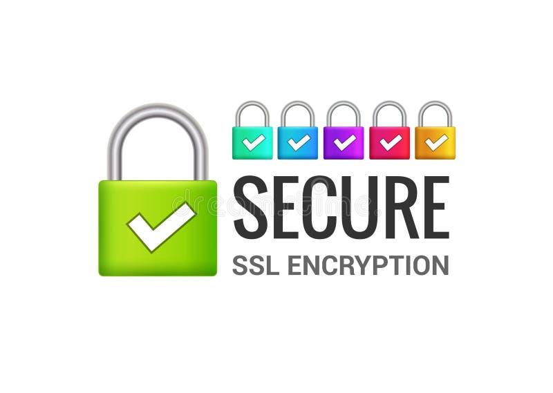 Εξασφαλίστε το εικονίδιο SSL σύνδεσης στο Διαδίκτυο Απομονωμένη εξασφαλισμένη πρόσβαση κλειδαριών στο σχέδιο απεικόνισης Διαδικτύ διανυσματική απεικόνιση