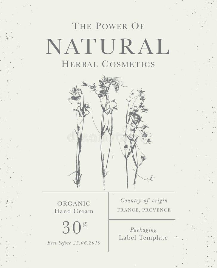 Εξατομικεύσιμη εκλεκτής ποιότητας ετικέτα των φυσικών οργανικών βοτανικών προϊόντων ελεύθερη απεικόνιση δικαιώματος