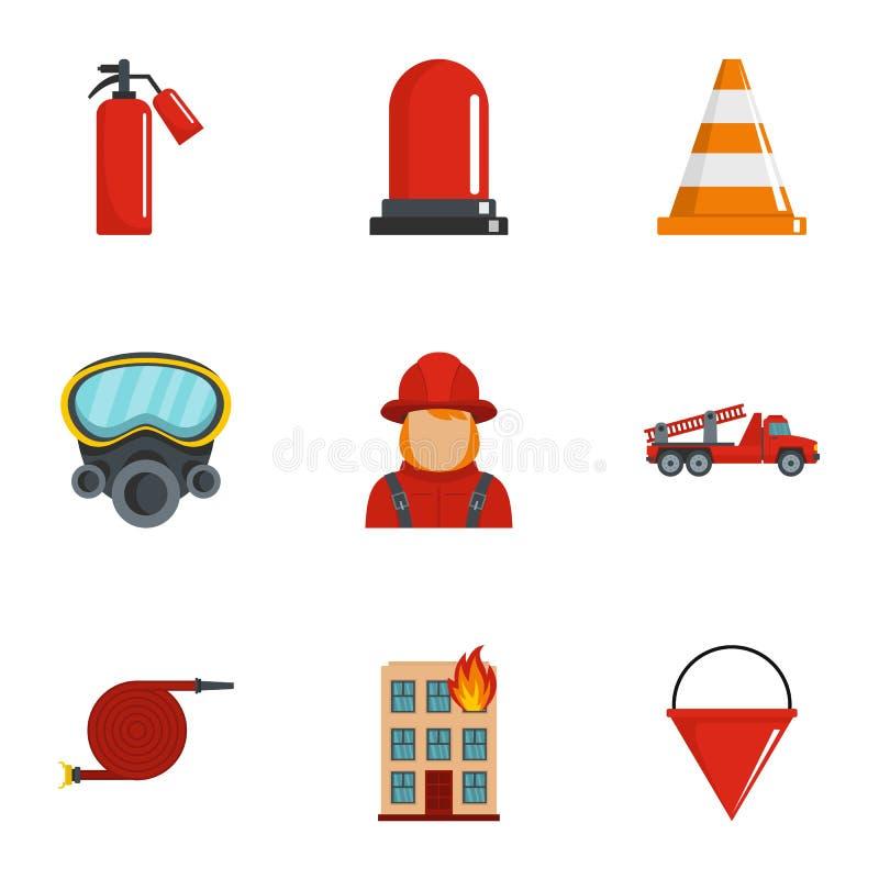 Εξαφανίστε τα εικονίδια πυρκαγιάς καθορισμένα, ύφος κινούμενων σχεδίων απεικόνιση αποθεμάτων