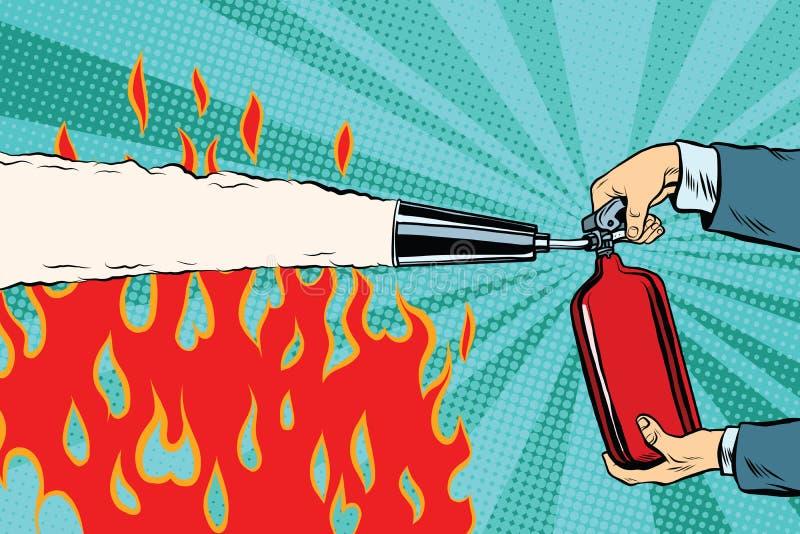 Εξαφανίστε τις φλόγες με έναν πυροσβεστήρα διανυσματική απεικόνιση