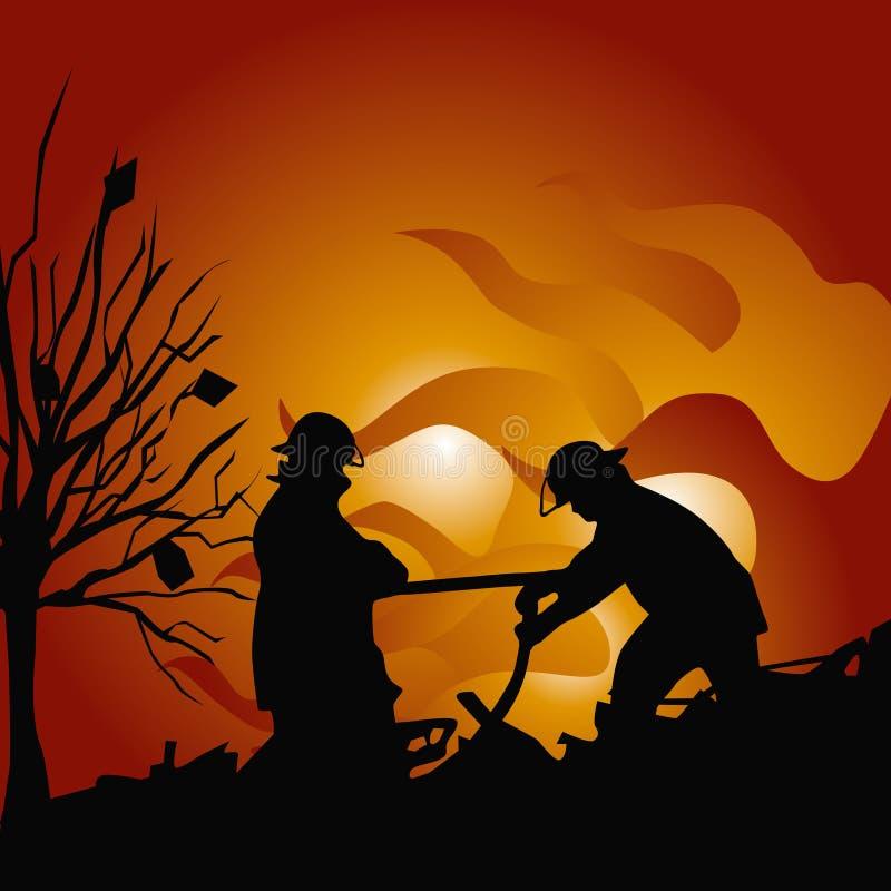 εξαφανίστε τους εθελοντείς πυροσβέστες πυρκαγιάς διανυσματική απεικόνιση