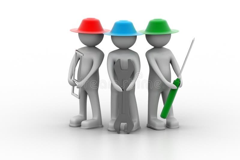 Εξειδικευμένοι εργάτες με το κλειδί και το κατσαβίδι απεικόνιση αποθεμάτων