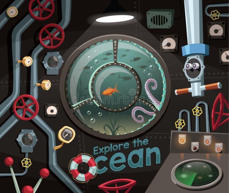 Εξερευνήστε τον ωκεανό, άποψη κάτω από τη θάλασσα από το υποβρύχιο διανυσματική απεικόνιση