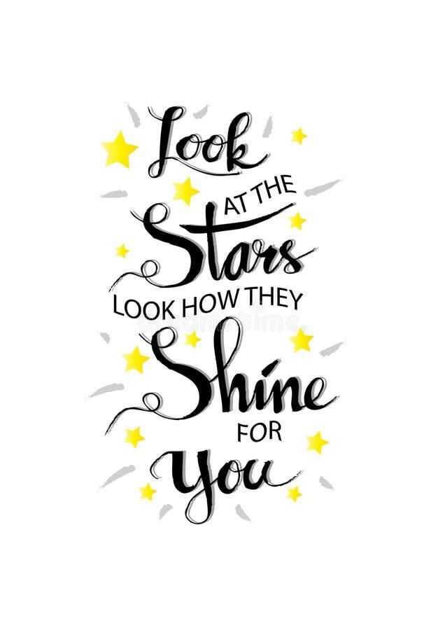 Εξετάστε τα αστέρια, φαίνεται πώς λάμπουν για σας διανυσματική απεικόνιση