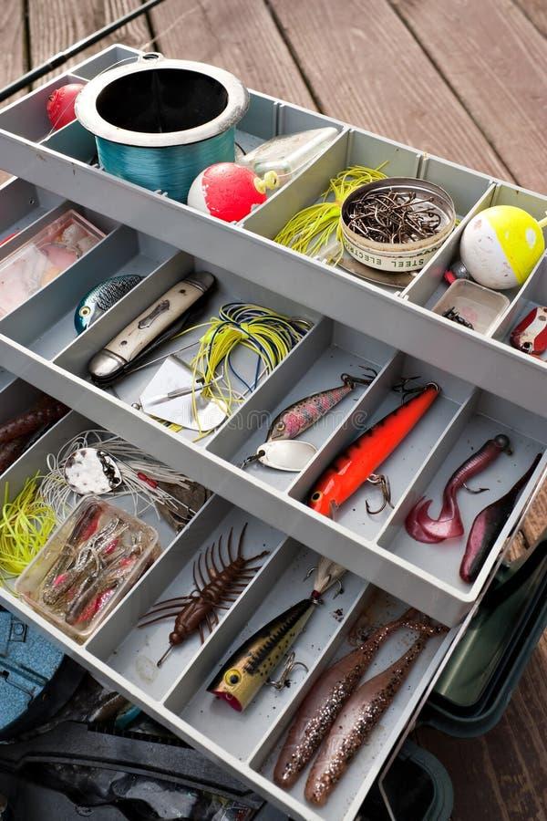 εξοπλισμός αλιείας κιβ&om στοκ εικόνες
