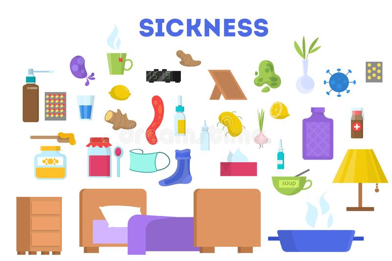 Εξοπλισμός για τον άρρωστο χαρακτήρα - σύνολο Τρόφιμα και φάρμακο απεικόνιση αποθεμάτων