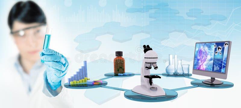 Εξοπλισμός και επιστήμονας ερευνητικών εργαστηρίων που κρατούν έναν δοκιμή-σωλήνα στοκ φωτογραφία