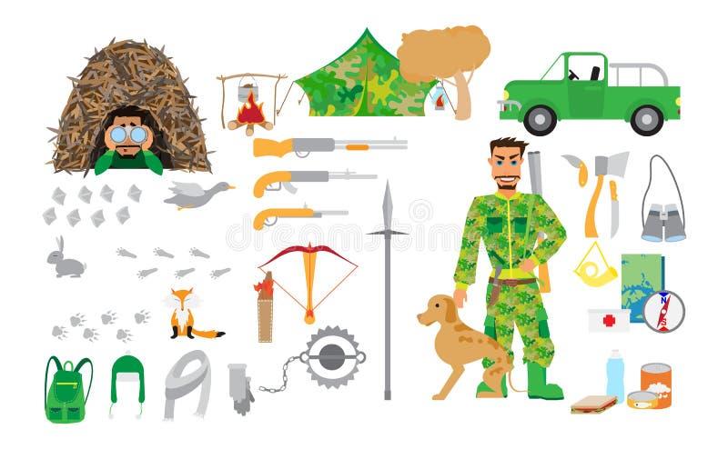 Εξοπλισμός κυνηγιού που τίθεται στο επίπεδο ύφος στο άσπρο υπόβαθρο Στοιχεία για το κυνήγι και την αναψυχή στο δάσος ελεύθερη απεικόνιση δικαιώματος