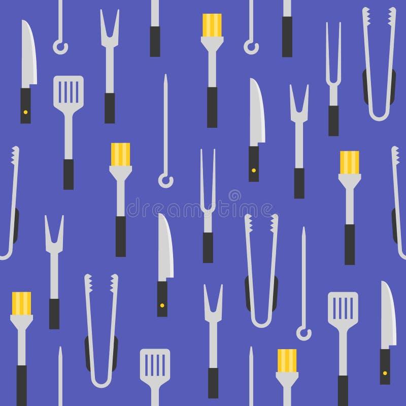 Εξοπλισμός σχαρών όπως το ράντισμα της βούρτσας, λαβίδες, spatula, seamle απεικόνιση αποθεμάτων