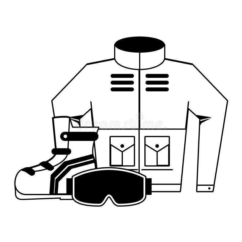 Εξοπλισμός χειμερινού ακραίος αθλητισμού σε γραπτό απεικόνιση αποθεμάτων
